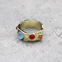 Craft color stone ring(GOLD/BLUE  #2 ) / 2101-RG063