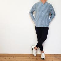 マルチストライプバンドカラーシャツ/ ブルー / 201-1211-03