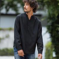 ノーカラーストライプシャツ/ ブラック /202-1211-05