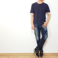 メランジクルーネック半袖TEE/ ネイビー /201-1324-07