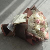 【ダズンローズ】プリザーブドローズの花束 12本のバラ ピンク