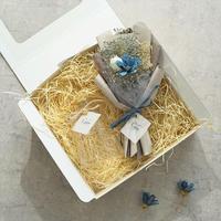 【ミニ花束(ブルー)×フラワーベース(Aurora)】Calonギフトボックス