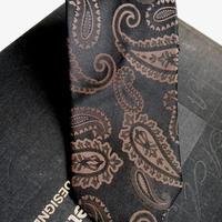 ネクタイシャドーペイズリー ブラウン  シルク(絹)100%