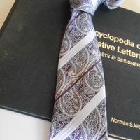 ネクタイ ペイズリー& ストライプ パープル(紫)