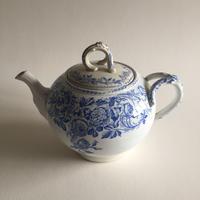 19世紀 リュネヴィル ティーポット 薔薇柄 ブルー
