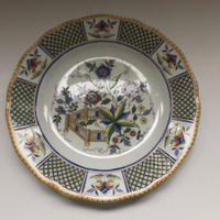 1875年 サルグミンヌ ルーアン風 花壇柄 ディナー・プレート サイズL