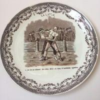 19世紀 サルグミンヌ おしゃべりなお皿 スポーツ レスリング