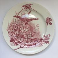 19世紀 ボルドー ジュール・ヴィエイヤール プレート オワゾー 親子鳥柄 1−4