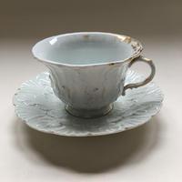 19世紀 ポーセレン・ド・パリ 白磁器 カップ&ソーサー レリーフ