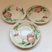1900 サンクレモン バルボティーヌ デザート・プレート 赤い花 1-3