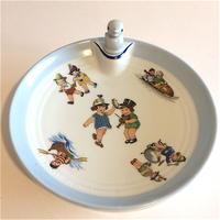 1920年代 リモージュ 子供用 保温皿 ポーセレン イラスト