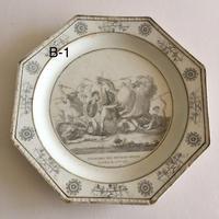 19世紀前半 クレイユ デザートプレート オクトゴナル グリザイユ ランクB 1ー3