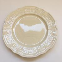 1960年代 リュネヴィル 小花レリーフ ディナー・プレート 平皿 生成 1ー11