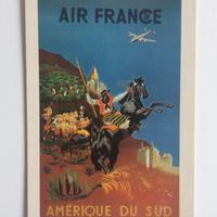 ビンテージ ポストカード エールフランス ポスター 1950 南米 セーグル