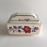 1910年代 リュネヴィル ボワッタビスキュイ 陶器 ビスケット入れ 薔薇柄