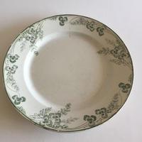 19世紀 クレイユ・エ・モントロー  プラ 大皿 円形 リシュリュー 三つ葉のクローバー柄