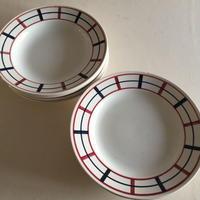 1930年代 サンタマン ディナー・プレート スープ皿 ライン チェック 2枚セット