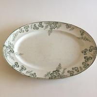 19世紀 クレイユ・エ・モントロー プラ・オーバル 楕円形大皿 リシュリュー 三つ葉のクローバー柄