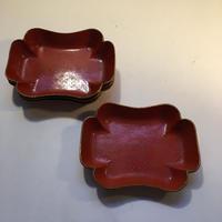 19世紀 ナポレオン3世スタイル パピエマッシェ 小皿、トレイ レッド 1-4