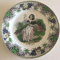 19世紀半ば クレイユ・エ・モントロー おしゃべりなお皿 ポリクローム 1-3
