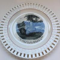 19世紀 リュネヴィル おしゃべりなお皿 ラフォンテーヌの寓話 レース皿