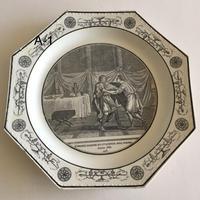 19世紀前半 クレイユ デザートプレート オクトゴナル グリザイユ ランクA 1ー5