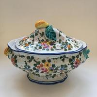1950年代? 18世紀風 イタリア製 ハンド・ペイント 小花柄 スーピエール