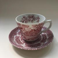 イギリス製 グリンドレー社 カップ&ソーサー 風景画 レッド 1ー4