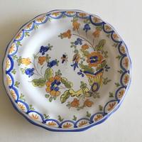 20世紀 ヴィンテージ ムスティエ ディナープレート ホルンと花柄