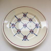 1900年代 バドンヴィレー ディナー・プレート 平皿 ノルマンディー チェックと花柄 1−7