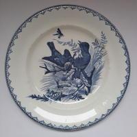 19世紀 刻印なし (ボルドー?) ディナー・プレート 小鳥柄