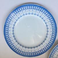 19世紀後半 クレイユ・エ・モントロー フローラ・ロカイユ ブルー 大皿 31cm 1-2