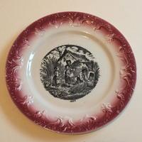 19世紀 ペクソンヌ おしゃべりなお皿 デザートプレート バルボティーヌ 8月