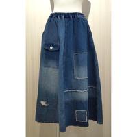 パッチワークデニムスカート.O0652