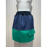 MORIyumi.リメイクTシャツデニムスカート(グリーン×グリーン).O0553