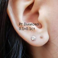 Pt 1粒ダイヤモンド0.1×0.1ctピアス
