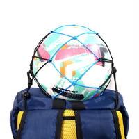 【リュックに付けるボールホルダー】カピタン スリムフィット ボールネット コンビ リフレクト<フック付き>(ブラック×マリンブルー)