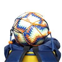 【リュックに付けるボールホルダー】カピタン スリムフィット ボールネット コンビ<フック付き>(ネイビー×オレンジ)