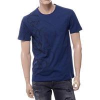 アレキサンダーマックイーン Alexander McQueen スカルプリントラウンドネック半袖Tシャツ コットン ネイビー