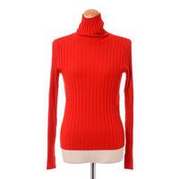 プラスプラス +2 ハイネックリブ編み長袖セーター ロロピアーナウール レッド