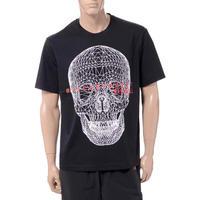 ブラックバレット BLACKBARRETT バイニールバレット by neil barrett 前面3Dメッシュスカルプリントクルーネック半袖Tシャツ コットン ブラック