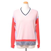 プラスプラス +2 Vネック長袖セーター ジャージー ピンク