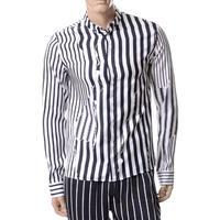 ハイダーアッカーマン Haider Ackermann ストライプシャツ シルク ブラックホワイト