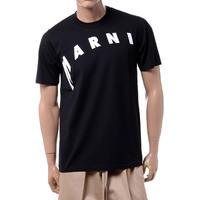 マルニ Marni ディトルテッドロゴプリントTシャツ コットン ブラック