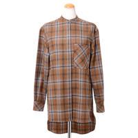 アニオナ AGNONA 前開きシャツ 羊毛カシミア ブラウンチェック