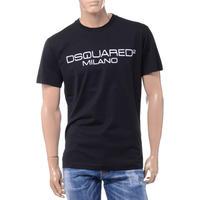 ディースクエアード Dsquared2 旧ブランドロゴミラノプリントTシャツ コットン ブラック