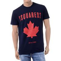 ディースクエアード Dsquared2 ブランドロゴ・カエデプリントTシャツ コットン ダークネイビー