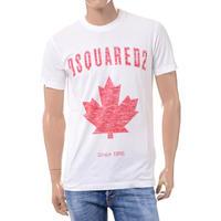 ディースクエアード Dsquared2 ブランドロゴ・カエデプリントTシャツ コットン ホワイト