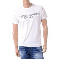 ディースクエアード Dsquared2 旧ブランドロゴミラノプリントTシャツ コットン ホワイト