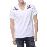 アレキサンダーマックイーン Alexander McQueen バードプリントVネック半袖Tシャツ ホワイト